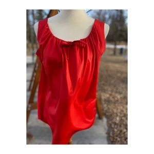 Vintage 70s Tank Top Camisole Red Pussy Bow